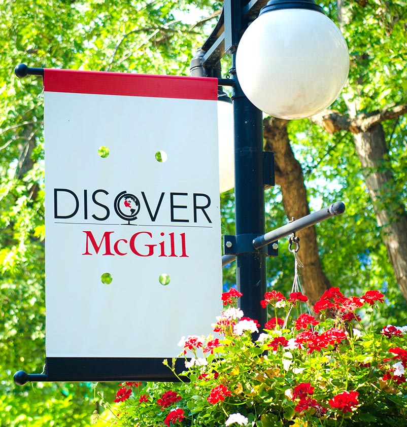 photo of a banner on McGill campus that reads 'Discover McGill'